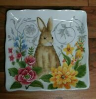 "MAXCERA Spring Collection Bunny & Flowers 11"" Square Ceramic Plate Platter NWT"