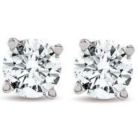 1/2ct Round Real Diamond Studs White Gold Brilliant Cut