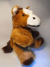 HORSE CUDDLY TOY , SOFT CUDDLY HORSE GIFT / PRESENT SMALL BROWN AND WHITE HORSE