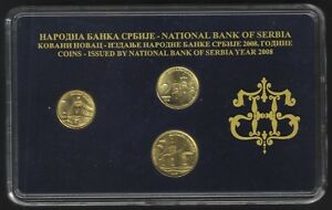 Serbia Official Central Bank Mint Set 2008. 3 Coins, 1, 2, 5 Dinara.