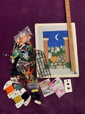 HandPainted Needlepoint Canvas Halloween Cemetery by Julia with threads