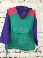 Vintage 90s Nylon Windbreaker Pull Over Colorblock Front Pouch Youth Size 7/8
