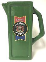 Vintage Passport Scotch Whisky Jug Advertising Ceramic Bar Water Pitcher