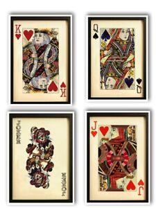 Set of 4 Black Framed Wall Art King,Queen, Jack, Joker Collage Pictures