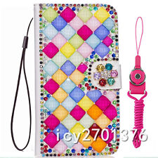 PU Leather Flip Bling Diamond Wallet Case Girls' Phone Cover bag with strap #13