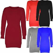 New Ladies Oversized Plain Baggy Long Thermal Jumper Tops 8-22