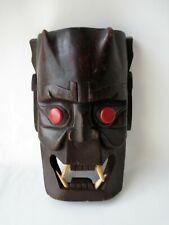 Japanese Vintage Mask Wood Hand Carved Noh Kabuki Demon Oni Teeth Fangs