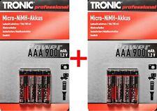 8x TRONIC AAA Micro Ni-MH Akkus / 900mAh. 1.2V - wiederaufladbare Batterie Akku