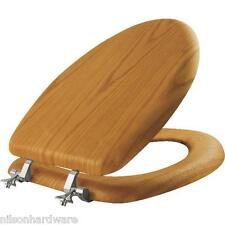 Oak Veneer Elongated Toilet Seat With Chrome Hinges