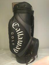 Callaway Hawkeye  Black Grey Leather 6 Way Cart Staff Golf Bag
