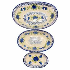 New listing Gallery Tabletops Nicolette Oval Nesting Bowls (Set Of 3) Navy Floral Pottery