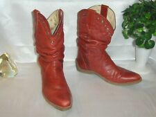 KENNETH COLE REACTION RED LEATHER SLOUCH COWBOY BOOTS 10M STUD ACCENT