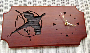 """Vintage~Hand Carved Solid Wood Clock """"Pheasant in Flight"""" #19 of 1000~18"""" x 9"""""""