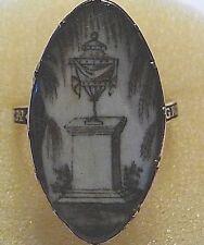 Georgian Black Enamel, 15 K Gold, Ink & Hair Navette Urn Mourning Ring Size R