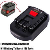 For Dewalt 20V&Milwaukee M18 Battery Convert To Bosch 18V Li-Ion Tools Adapter