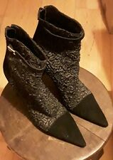 Gina designer black leather and fabric boots size 4 - bargain