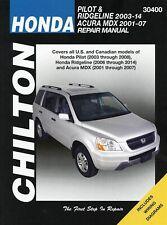 Honda Pilot & Ridgeline 2003-2014, Acura MDX 2001-2007 Repair Manual
