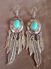 Pair of Faux Turquoise Tassel Feather Earrings Ladies Fashion