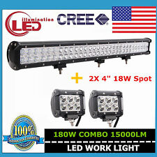 28inch 180W LED Light Bar Flood Spot Combo Offroad For Jeep+18W 4inch Boats Ford