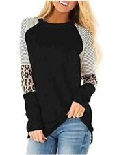Women's Long Sleeve Shirts Round Neck Leopard Printed Striped, Black, Size Large