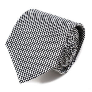New $230 ISAIA 7-Fold Black and Silver Woven Dot Pattern Silk Tie Handmade