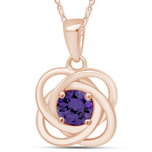 Amethyst Love Knot Necklace 14k Rose Gold Over Sterling Silver