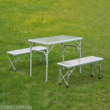 Outsunny Folding Aluminum Picnic Table Portable Bench Combo Outdoor Camping BBQ