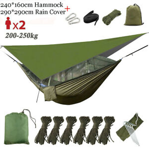 2 Person Camping Hammock Travel With Mosquito Net + Rain Cover Tent Tarp Pad Mat