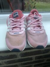 Adidas City Cloudfoam Pink Running Shoes Trainers Size UK 2 Lace Up