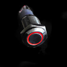 16mm Car Boat Red 12V LED Angel Eye Start Button Metal Switch Push ON/OFF fu