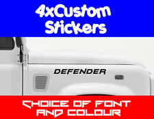 4x Land Rover Custom Stickers Choice of Fonts, Colours + Text Landrover