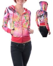 Sexy Red Pink Long Sleeve Roses Girl Face Printed Jacket Blouse With Hood Size S