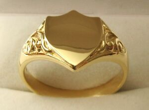 HEAVY GENUINE 9K 9ct SOLID GOLD MEN'S SHIELD SIGNET RING Size T/10 to Z/13