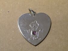 Cute Silver Tone, Heart with Boy And Purple Rhinestone, Pendant .|e|