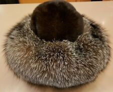 Women's mahogany mink dress hat w/crystal fox trim