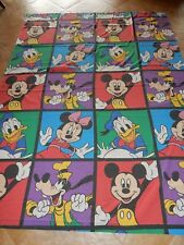 Disney Twin Flat Sheet Colorblock Mickey & Minnie Mouse Goofy & Donald Duck