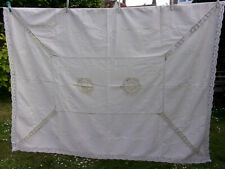 "VINTAGE Large COTTON/LINEN TABLECLOTH CROCHET LACE & APPLIQUE Oatmeal 76""x58"""