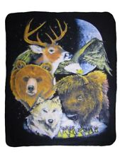 Spirit Animals Native American Indian Planet 50x60 Polar Fleece Blanket Throw