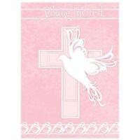 Pink Dove Cross 8 Ct Invitations Baptism Christening Communion Party