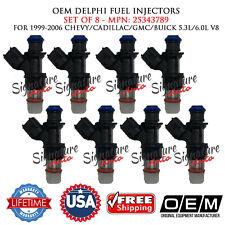 8x Fuel Injectors OEM DELPHI 99-06 Chevy-Cadillac-GMC-Buick 5.3/6L V8 NON-FLEX!