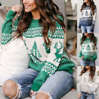 Womens Long Sleeve Sweater Blouse Ladies Knitted Christmas Jumper Pullover Tops
