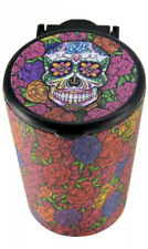 Portable Butt Bucket Cup Holder Cigarette Ashtray W/ LED Light- Floral Skull