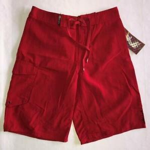 NEW Kid Boy 13 14 QUIKSILVER Red Surf Board Shorts Swim Trunk Swimsuit 27 Nylon