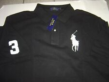 BIG RALPH LAUREN BLACK WITH WHITE LG PONY S/S MESH POLO SHIRT SIZE 3X $110