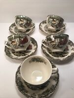 5 JOHNSON BROS. FRIENDLY VILLAGE''THE ICE HOUSE'' CUPS AND SAUCERS SETS