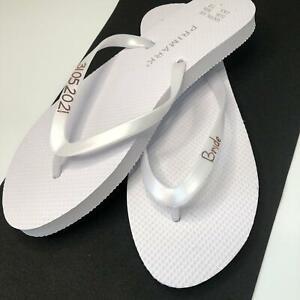 Personalised Bride Ladies Flip Flops For Wedding or Honeymoon/ Hen Any Logo