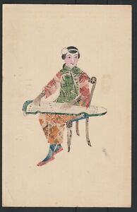 CHINA .HAND PAINTED CHINESE STAMPS COLLAGE POSTCARD  CHINESE WOMAN.TON TAK & CO