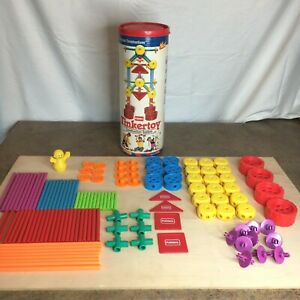 Playskool 1991 Tinkertoy Construction 804 Complete 115 pieces with Canister Vtg