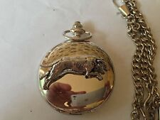 D19 Greyhound polished silver case mens GIFT quartz pocket watch fob
