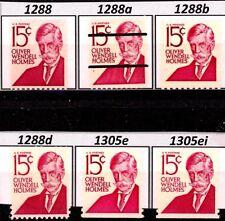 Oliver Wendell Holmes Varieties Set 6 MNH Sc 1288 1288a 1288b 1288d 1305e 1305ei